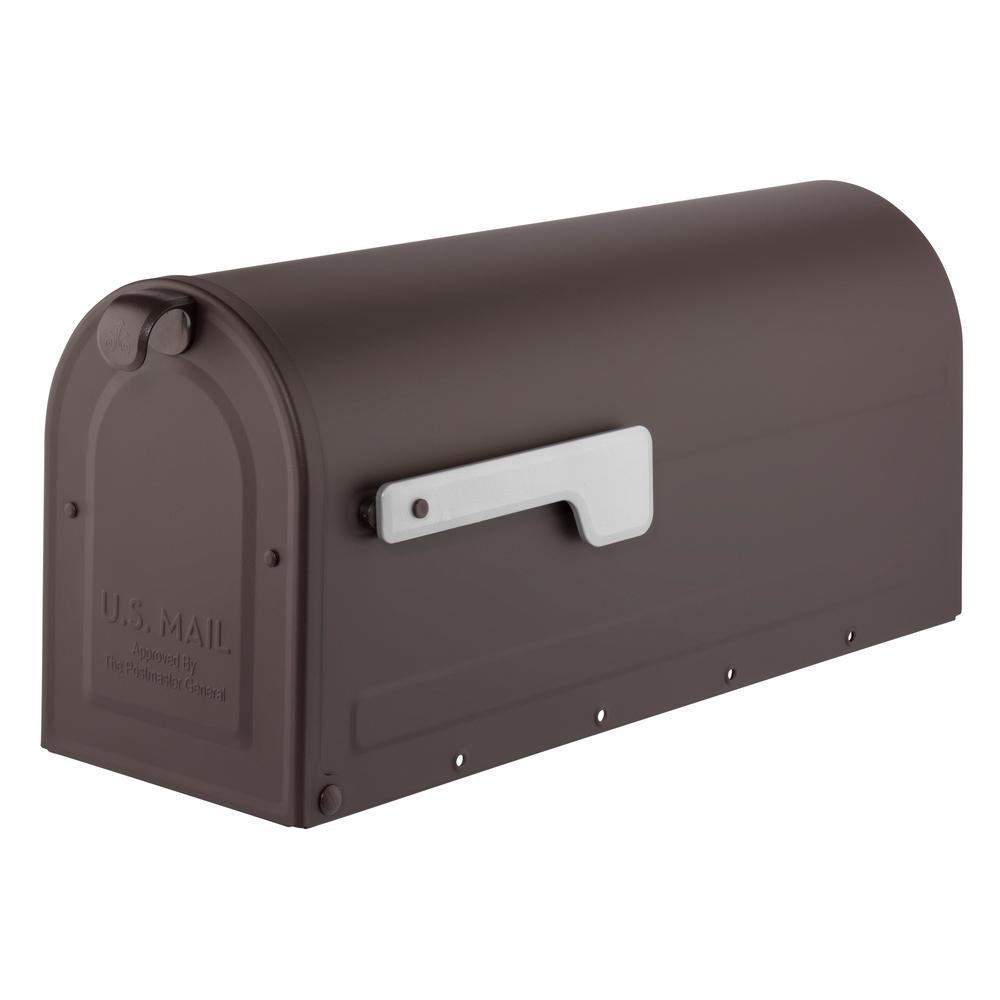 MB1 Post Mount Mailbox Rubbed Bronze with Silver Flag