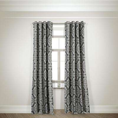 Semi-Opaque Tyra Charcoal Cotton and Polyester Half Panama Curtain - 50 in. W x 84 in. L
