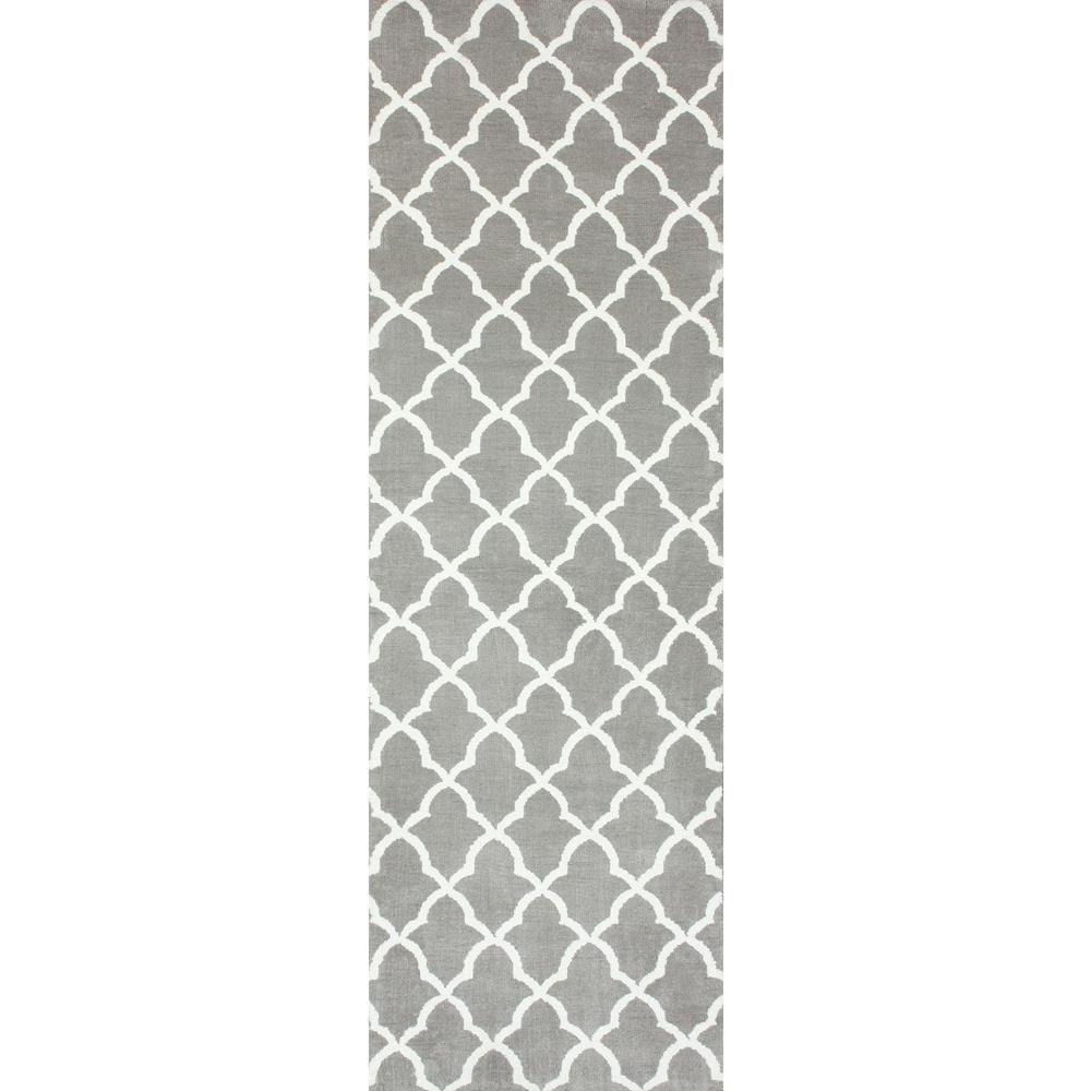 Nuloom Washable Rugs: NuLOOM Gustav Faux Grey 2 Ft. 6 In. X 8 Ft. Runner-BIBL05A