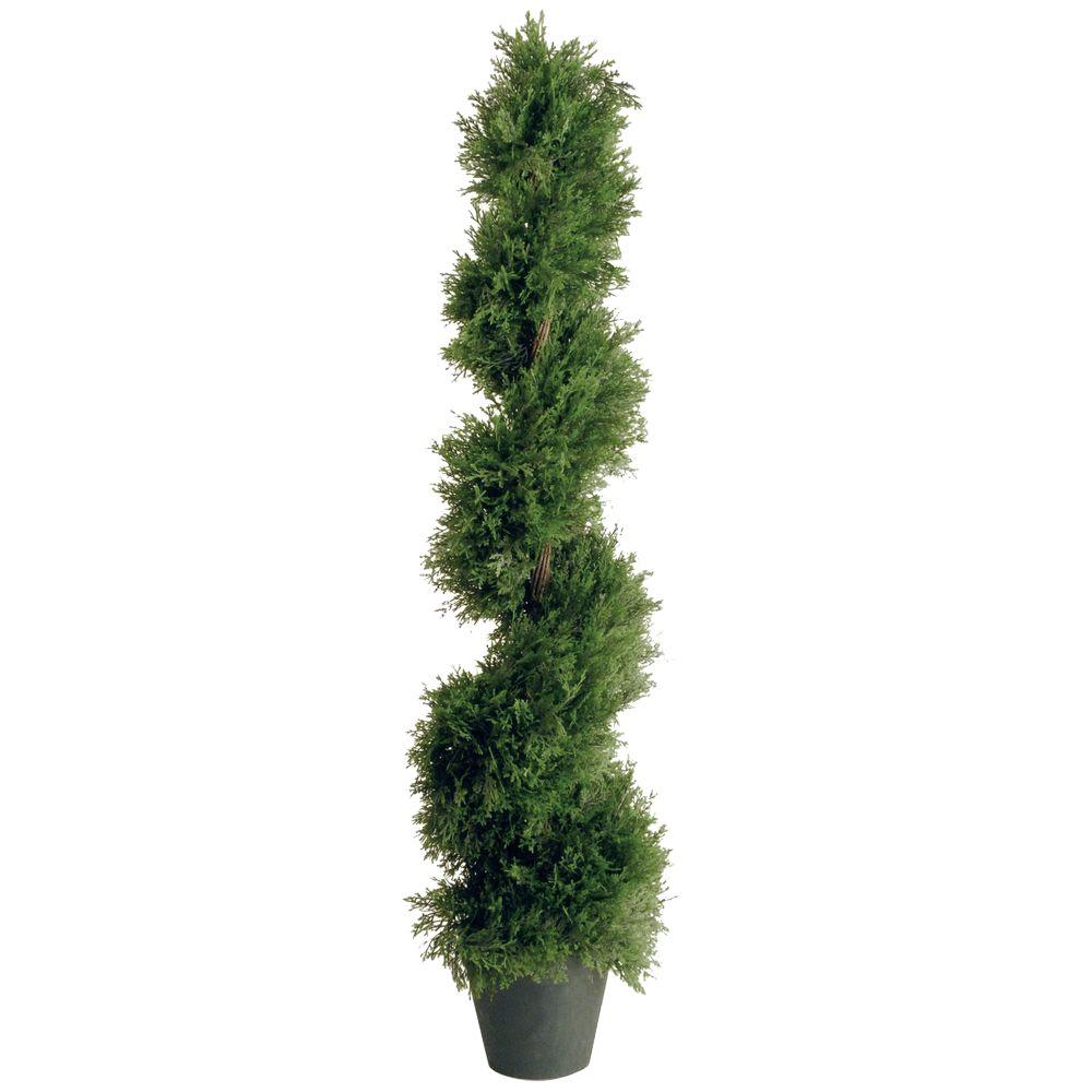 4 ft. Upright Juniper Slim Spiral Tree with Artificial Natural Trunk
