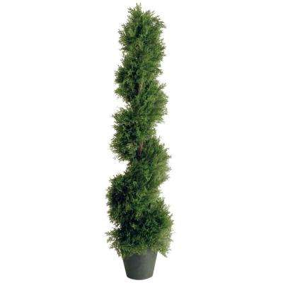 4 ft. Upright Juniper Slim Spiral Tree with Artificial Natural Trunk in Green Round Growers Pot