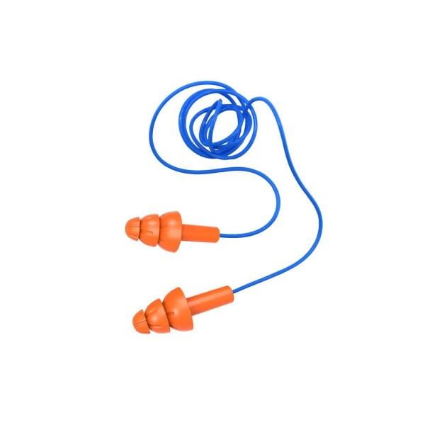 Reusable Corded Earplugs NRR 26 TPR (3-Pack)
