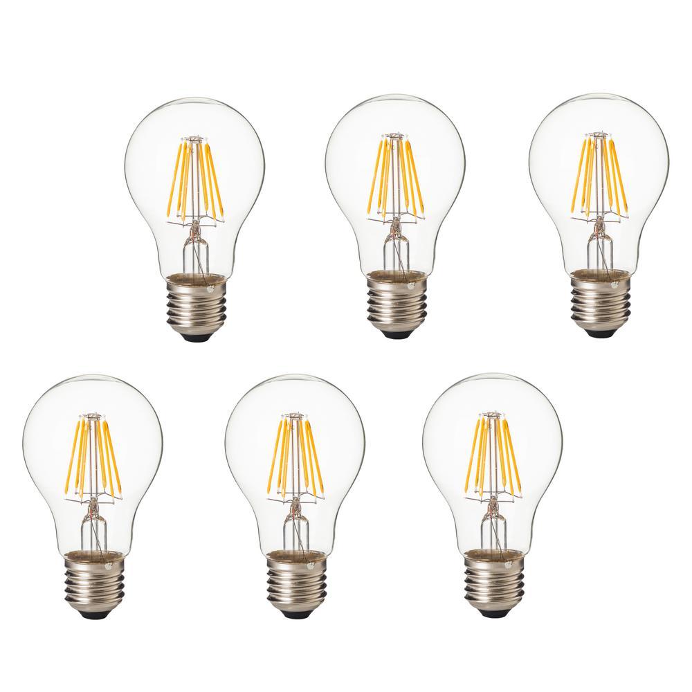 75-Watt Equivalent E26 A19 LED Dimmable Filament Light Bulb Warm White (Set of 6)