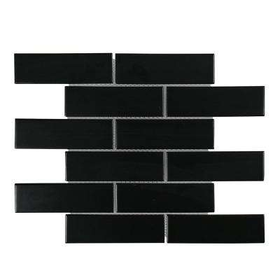 Classic 2 x 6 Black Interlocking 11.25 in. x 11.5 in. x 6 mm Glossy Porcelain Mosaic Floor and Wall Tile