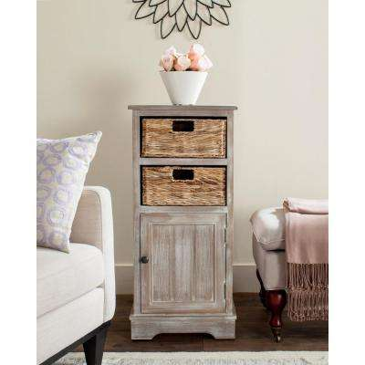 Connery Storage Pine Wood Cabinet In Vintage White