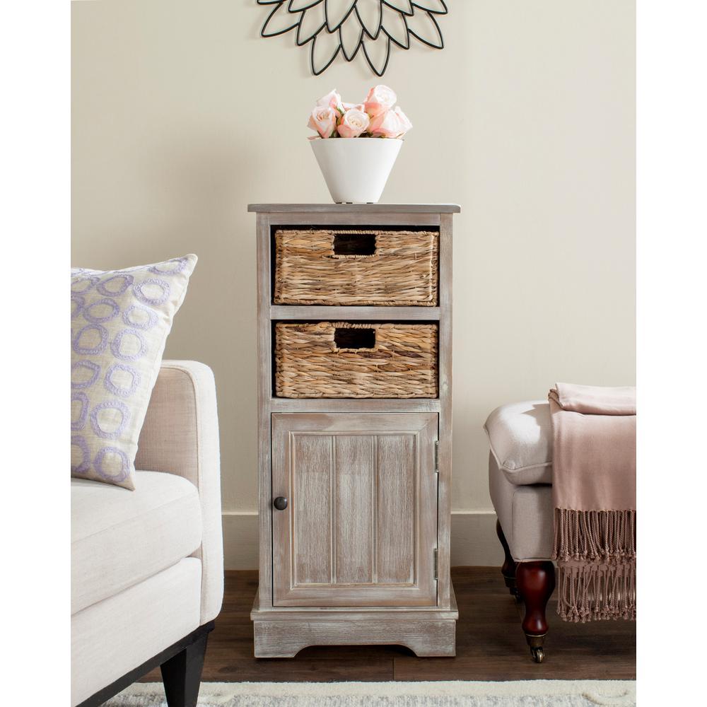 Safavieh Connery Storage Pine Wood Cabinet in Vintage White