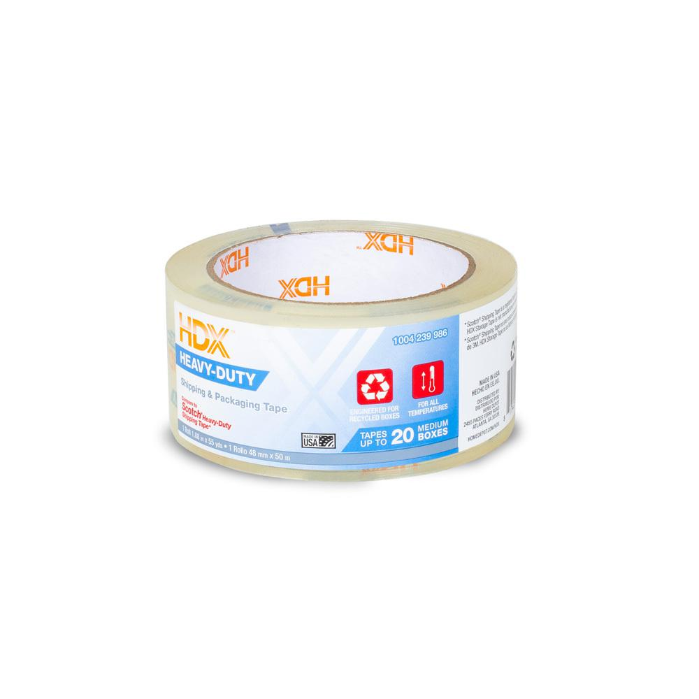 HDX HDX 1.88 in. x 55 yds. Clear Heavy Duty Shipping Packing Tape