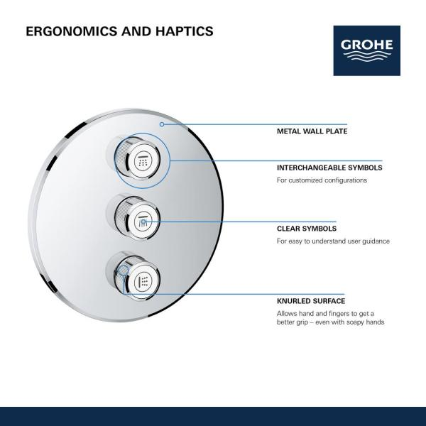 Grohe Grohtherm Smart Control Triple Volume Control Trim In Brushed Nickel 29122en0 The Home Depot