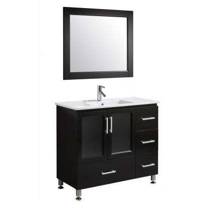 Stanton 40 in. W x 18 in. D x 35 in. H Vanity in Espresso with Porcelain Vanity Top in White with White Basin and Mirror
