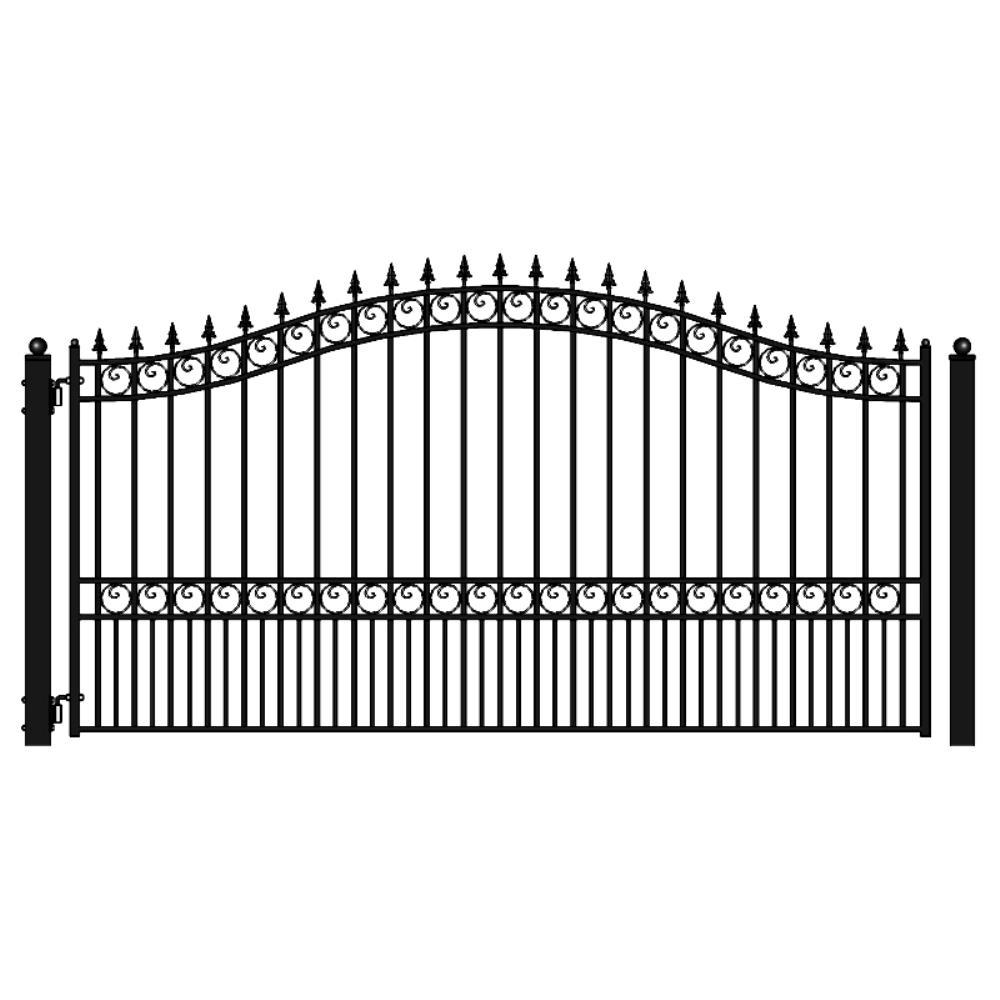 London Style 16 ft. x 6 ft. Black Steel Single Swing Driveway Fence Gate