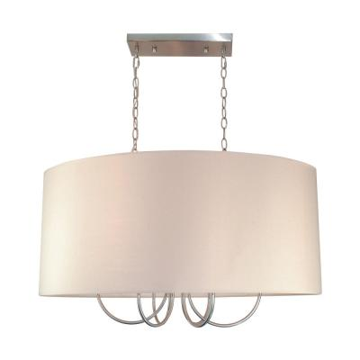 6-Light Polished Chrome Pendant with Taupe Shade