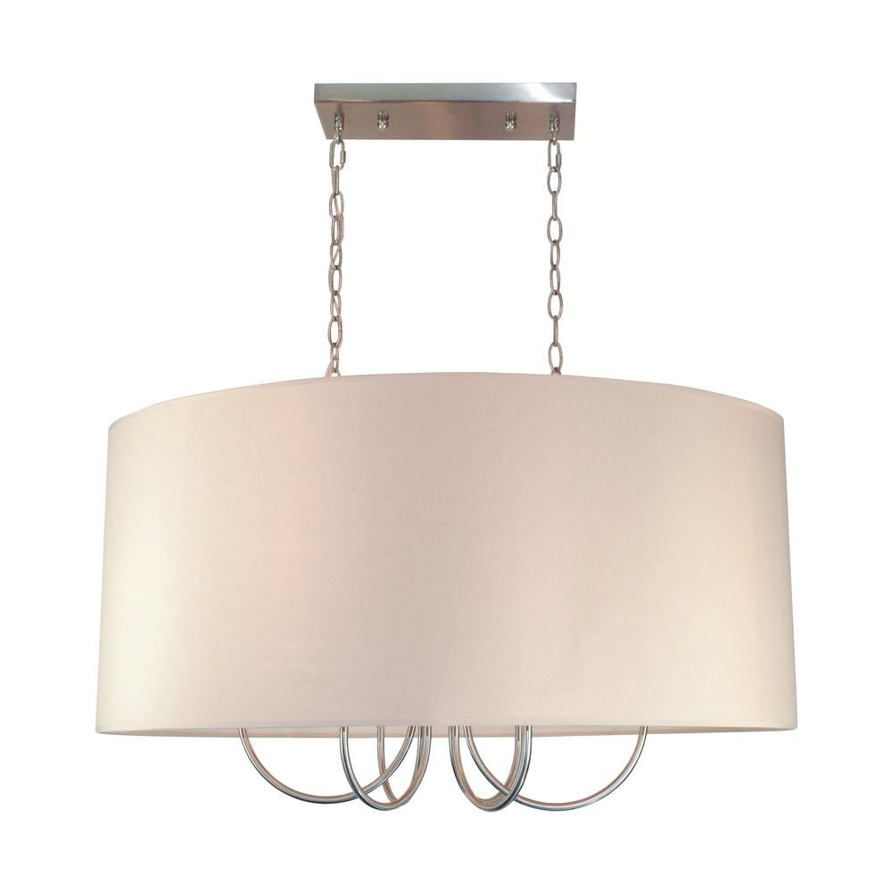 Bel Air Lighting 6 Light Polished Chrome Pendant With Taupe Shade