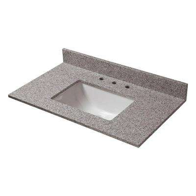 31 in. W Granite Vanity Top in Napoli with White Trough Bowl and 8 in. Faucet Spread