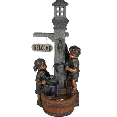 40 in. Children Playing with Outdoor Water Faucet Fountain with LED Lights