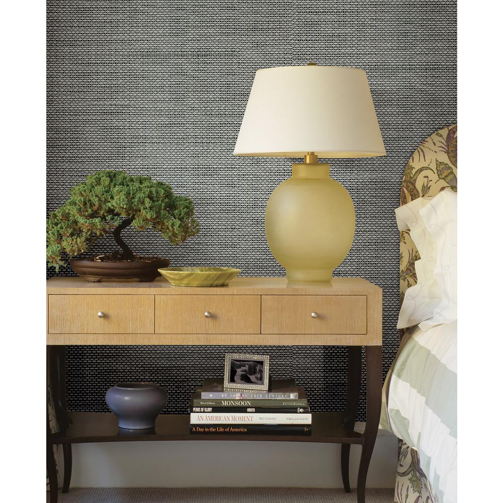 Isaac Black Woven Texture Wallpaper