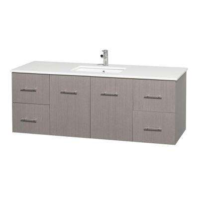 Centra 60 in. Vanity in Gray Oak with Solid-Surface Vanity Top in White and Under-Mount Sink