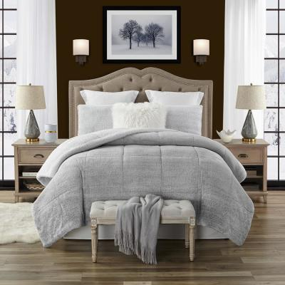 Premium Ultra-Soft 3-Piece Grey Faux Fur Reverse to Sherpa Full/Queen Comforter and Sham Set