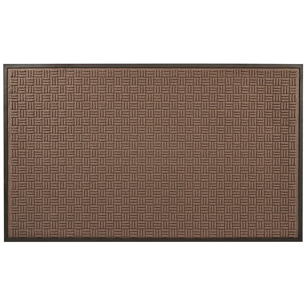 Portrait Brown 36 in. x 120 in. Rubber-Backed Entrance Mat