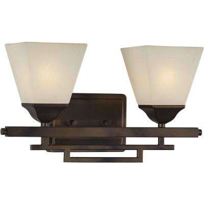 Giorgia 2-Light Antique Bronze Bath Vanity Light with Shaded Umber Glass