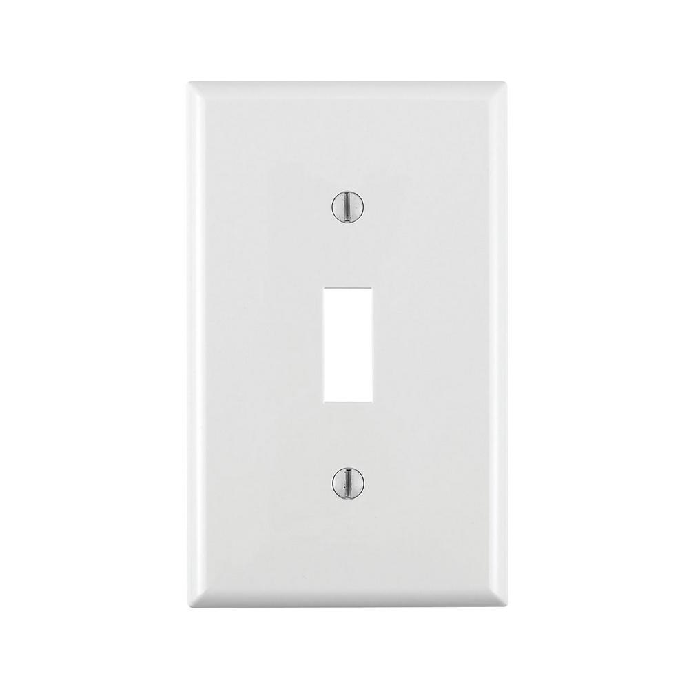 1-Gang 1-Toggle Standard Size Heavy Duty Nylon Wall Plate, White