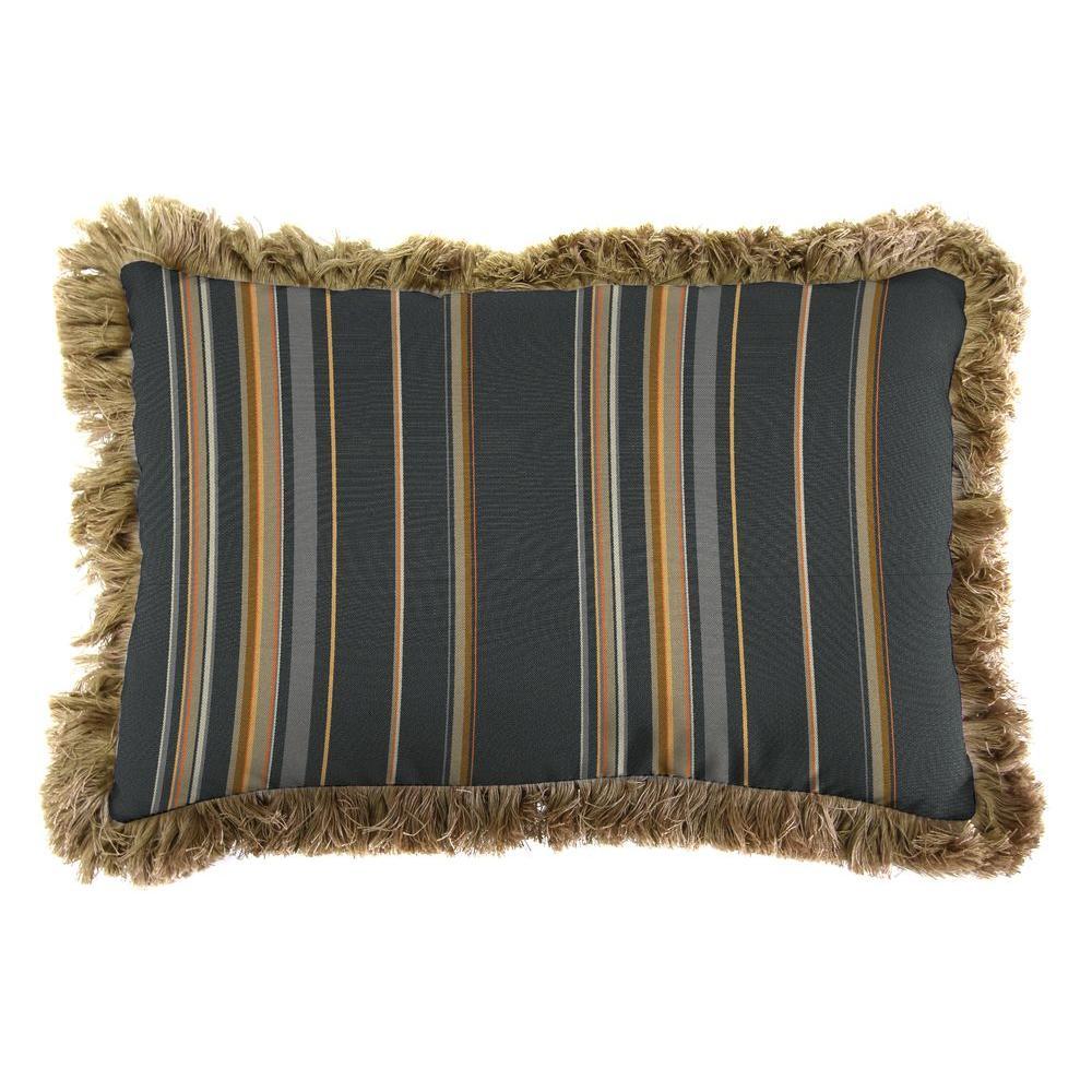 Sunbrella 9 in. x 22 in. Stanton Greystone Lumbar Outdoor Pillow with Heather Beige Fringe