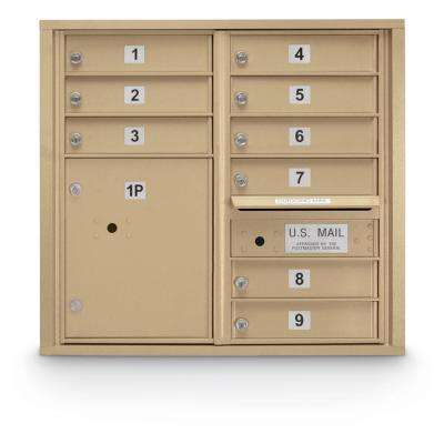 9-Door Standard 4C Mailbox with (1) Parcel Locker (Sandstone)