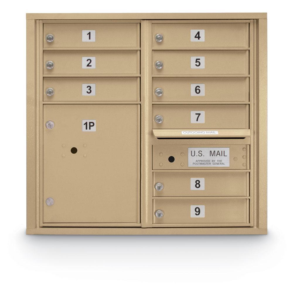 9-Door Standard 4C Mailbox with (1) Parcel Locker (Sandstone)