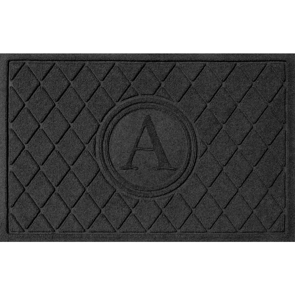 Argyle Charcoal 24 in. x 36 in. Monogram A Door Mat