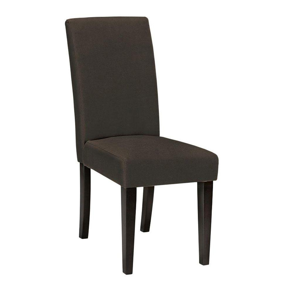 Home Decorators Collection Parsons Solid 17.5 in. W Brown Velvet Side Chair