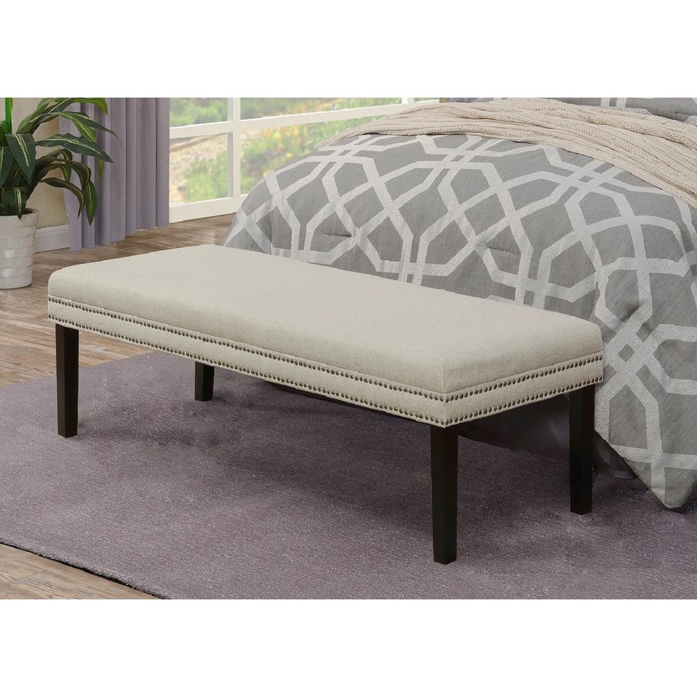 Linen White Upholstered Bed Bench with Nail Head Trim-DS-D029002 ...