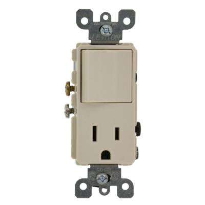 15 Amp Decora Commercial Grade Combination Single Pole Rocker Switch and Receptacle, Light Almond