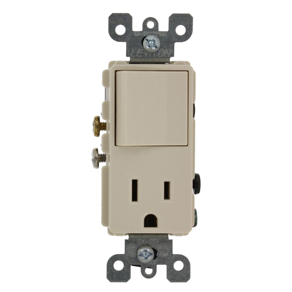 Leviton 15 Amp Decora Commercial Grade Combination Single Pole Rocker Switch and Receptacle, Light Almond