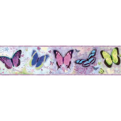 Kingston Purple Bff Butterflies Toss Purple Wallpaper Border