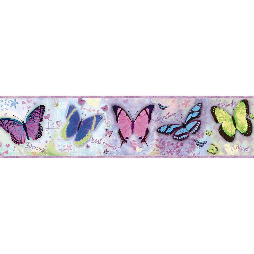 Kingston Purple Bff Butterflies Toss Purple Wallpaper Border Sample