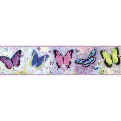 Kingston Purple Bff Butterflies Toss Purple Wallpaper Border Sample