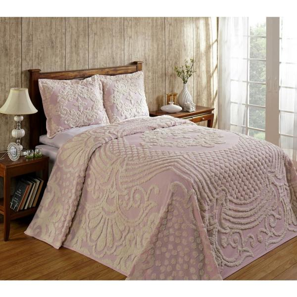 Florence Collection in Medallion Design Pink Queen 100% Cotton Tufted Chenille Bedspread