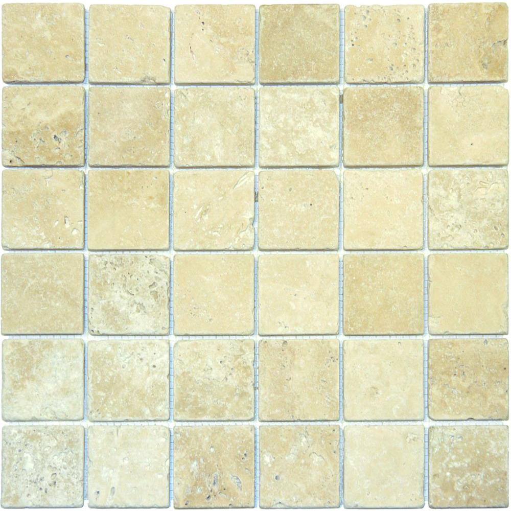 Flooring wall tile kitchen bath tile chiaro 12 in x 12 in x 10 mm tumbled travertine dailygadgetfo Gallery