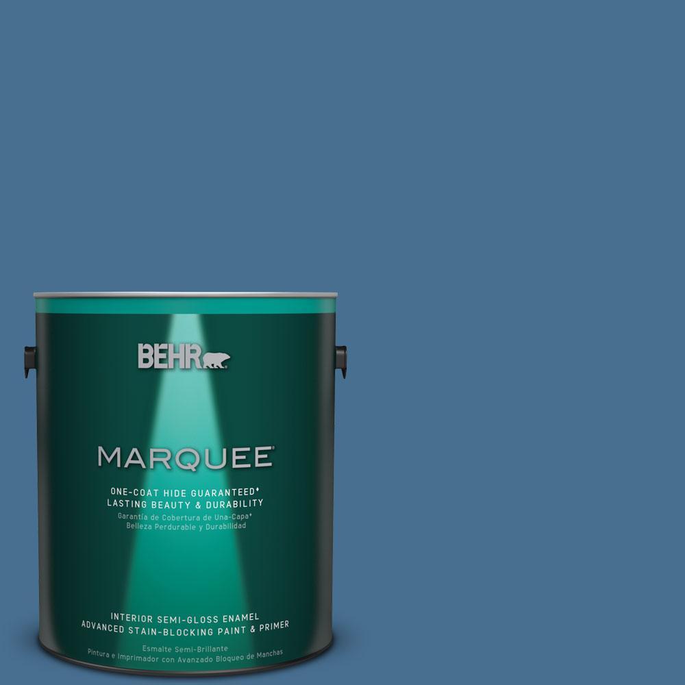 1 gal. #M510-5 Sailor's Bay One-Coat Hide Semi-Gloss Enamel Interior Paint