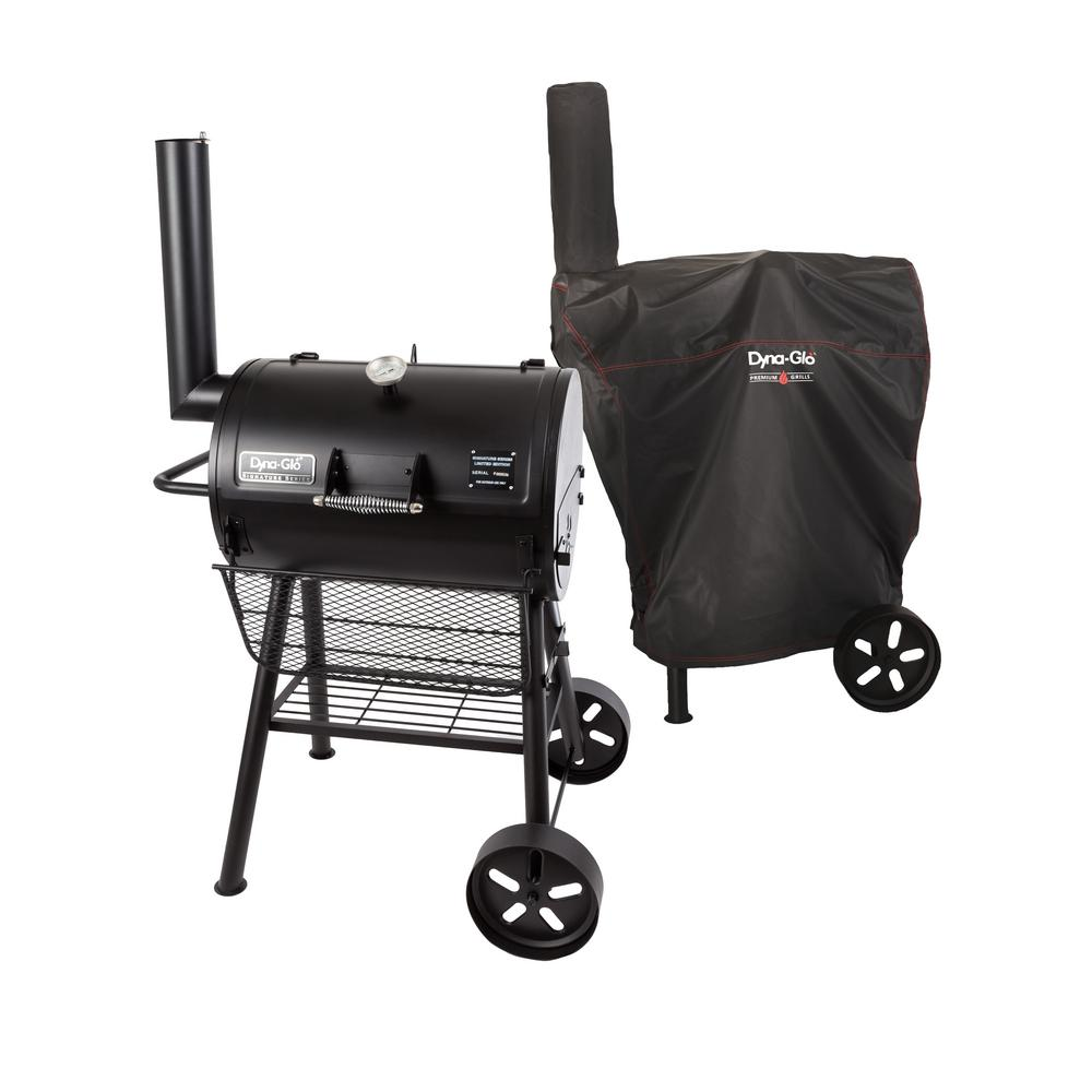 Heavy Duty Compact Barrel Charcoal Grill in Black with Cover