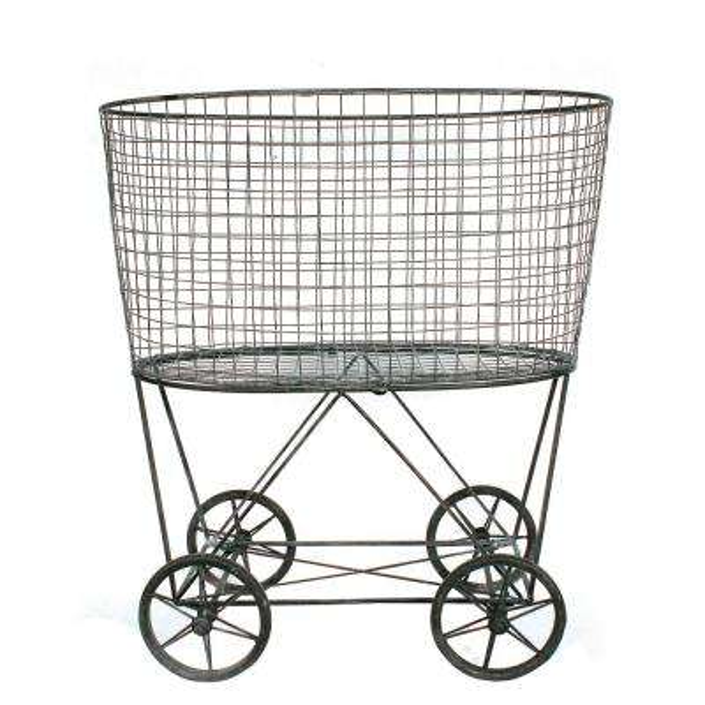Vintage Metal Basket with Wheels