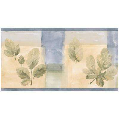 Green Leaves Blue Yellow Abstract Prepasted Wallpaper Border
