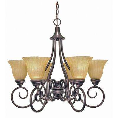 6-Light Copper Bronze Chandelier with Champagne Linen Washed Glass Shade