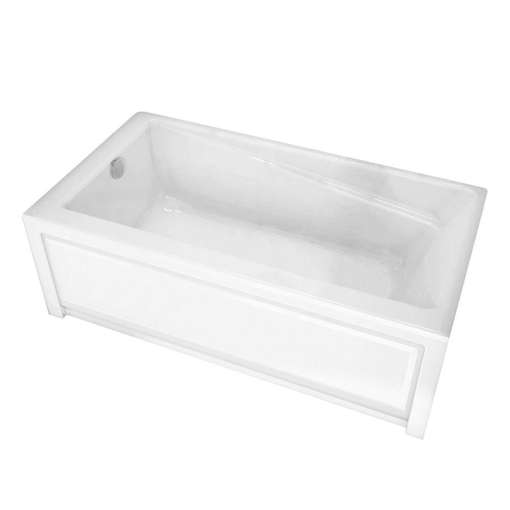 Maax new town 60 in acrylic left drain rectangular alcove for Acrylic soaker tub