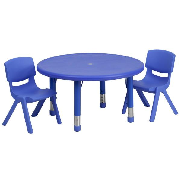 Blue 3-Piece Table and Chair Set