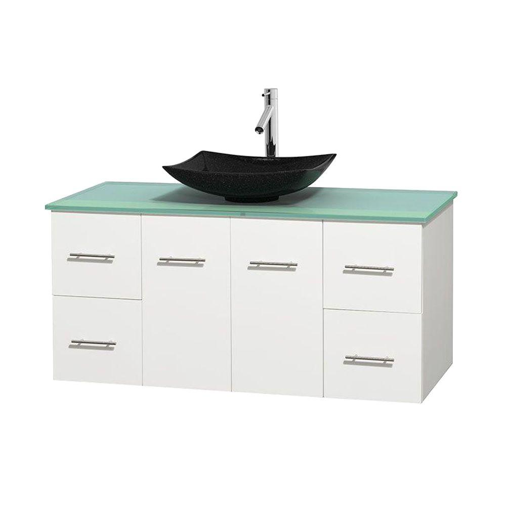 Wyndham Collection Centra 48 in. Vanity in White with Glass Vanity Top in Green and Black Granite Sink