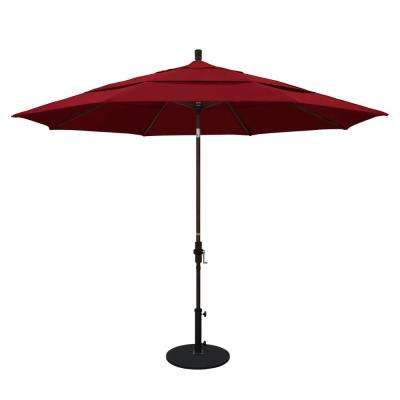 11 ft. Aluminum Collar Tilt Double Vented Patio Umbrella in Red Olefin