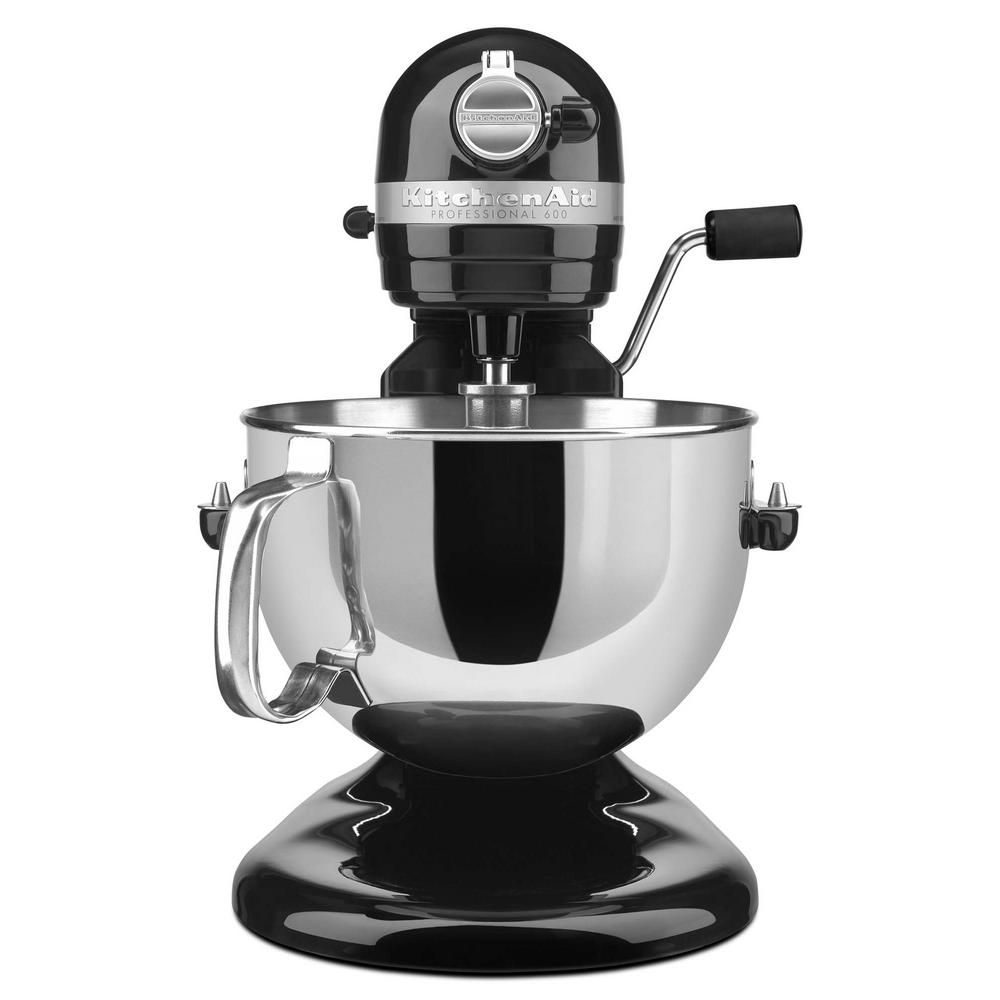 KitchenAid Professional 600 Series 6 Qt. 10-Speed Black Stand Mixer with Flat Beater, Wire Whip and Dough Hook Attachments KitchenAid Professional 600 Series 6 Qt. 10-Speed Black Stand Mixer with Flat Beater, Wire Whip and Dough Hook Attachments