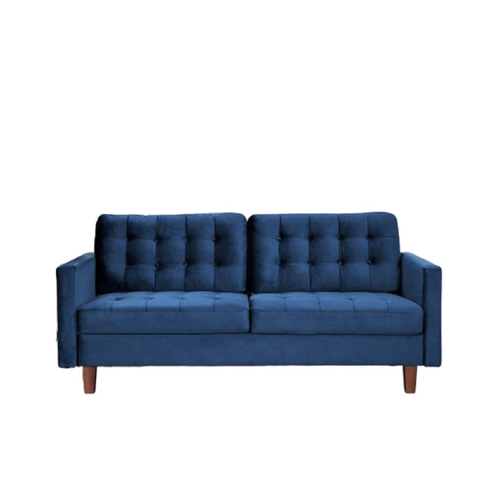 Sophia 74.5 in. Dark Blue Velvet 3-Seater Lawson Sofa with Removable Cushions