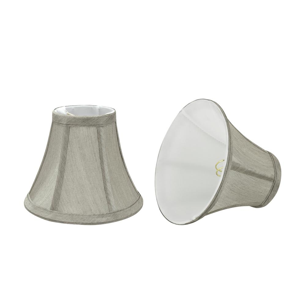 6 in. x 5 in. Grey Bell Lamp Shade (2-Pack)