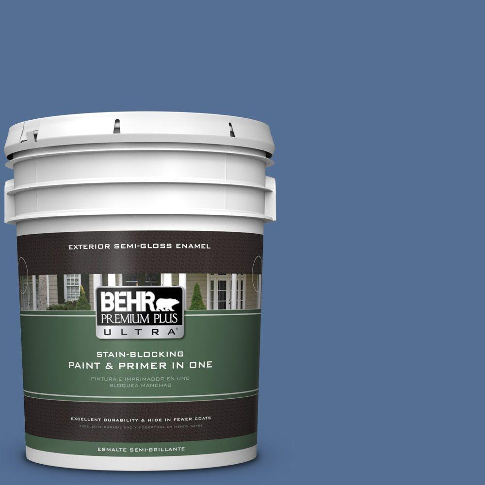 BEHR Premium Plus Ultra 5-gal. #M530-6 Charter Blue Semi-Gloss Enamel Exterior Paint
